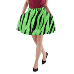 Skin3 Black Marble & Green Watercolor (r) A Line Pocket Skirt