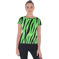 Skin3 Black Marble & Green Watercolor (r) Short Sleeve Sports Top