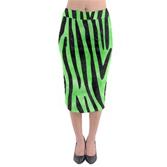 Skin4 Black Marble & Green Watercolor Midi Pencil Skirt