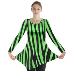 Skin4 Black Marble & Green Watercolor (r) Long Sleeve Tunic