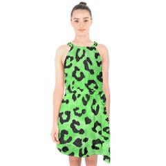 Skin5 Black Marble & Green Watercolor Halter Collar Waist Tie Chiffon Dress