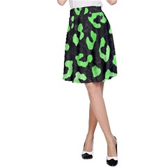 Skin5 Black Marble & Green Watercolor (r) A Line Skirt