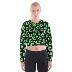 Skin5 Black Marble & Green Watercolor (r) Cropped Sweatshirt