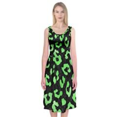 Skin5 Black Marble & Green Watercolor (r) Midi Sleeveless Dress