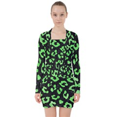 Skin5 Black Marble & Green Watercolor (r) V Neck Bodycon Long Sleeve Dress