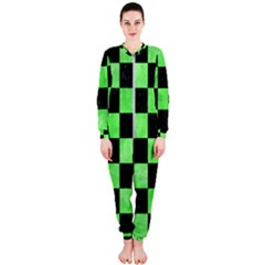 Square1 Black Marble & Green Watercolor Onepiece Jumpsuit (ladies)