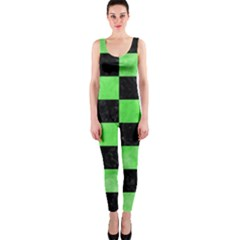 Square1 Black Marble & Green Watercolor Onepiece Catsuit