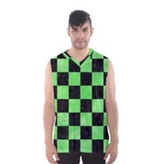 Square1 Black Marble & Green Watercolor Men s Basketball Tank Top