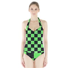Square1 Black Marble & Green Watercolor Halter Swimsuit