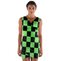 Square1 Black Marble & Green Watercolor Wrap Front Bodycon Dress