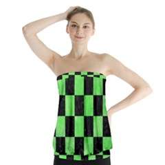 Square1 Black Marble & Green Watercolor Strapless Top