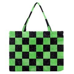 Square1 Black Marble & Green Watercolor Zipper Medium Tote Bag