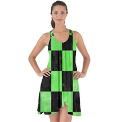 Square1 Black Marble & Green Watercolor Show Some Back Chiffon Dress