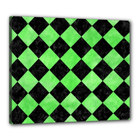 Square2 Black Marble & Green Watercolor Canvas 24  X 20