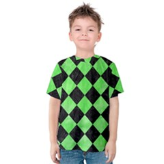 Square2 Black Marble & Green Watercolor Kids  Cotton Tee