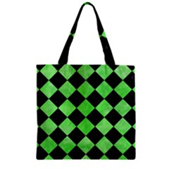 Square2 Black Marble & Green Watercolor Zipper Grocery Tote Bag