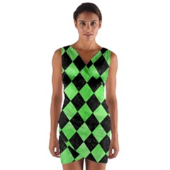Square2 Black Marble & Green Watercolor Wrap Front Bodycon Dress