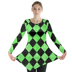 Square2 Black Marble & Green Watercolor Long Sleeve Tunic