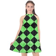 Square2 Black Marble & Green Watercolor Halter Neckline Chiffon Dress