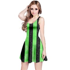 Stripes1 Black Marble & Green Watercolor Reversible Sleeveless Dress