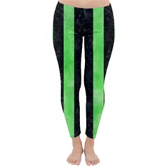 Stripes1 Black Marble & Green Watercolor Classic Winter Leggings