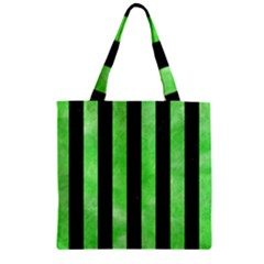 Stripes1 Black Marble & Green Watercolor Zipper Grocery Tote Bag
