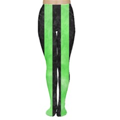 Stripes1 Black Marble & Green Watercolor Women s Tights