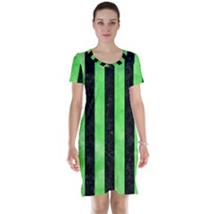 Stripes1 Black Marble & Green Watercolor Short Sleeve Nightdress