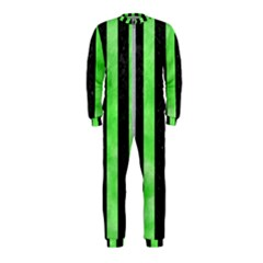 Stripes1 Black Marble & Green Watercolor Onepiece Jumpsuit (kids)