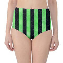 Stripes1 Black Marble & Green Watercolor High Waist Bikini Bottoms