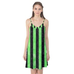 Stripes1 Black Marble & Green Watercolor Camis Nightgown