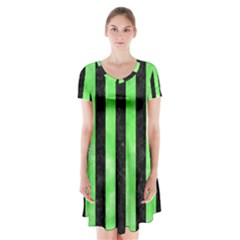 Stripes1 Black Marble & Green Watercolor Short Sleeve V Neck Flare Dress