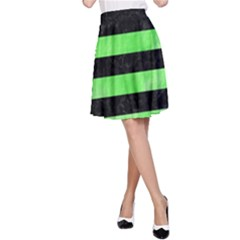 Stripes2 Black Marble & Green Watercolor A Line Skirt