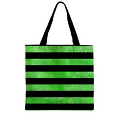 Stripes2 Black Marble & Green Watercolor Zipper Grocery Tote Bag