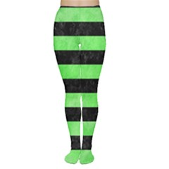 Stripes2 Black Marble & Green Watercolor Women s Tights
