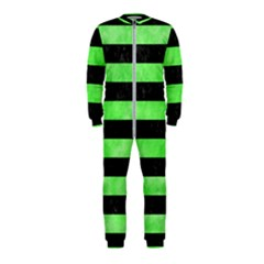 Stripes2 Black Marble & Green Watercolor Onepiece Jumpsuit (kids)