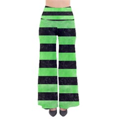 Stripes2 Black Marble & Green Watercolor Pants