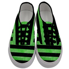 Stripes2 Black Marble & Green Watercolor Men s Classic Low Top Sneakers