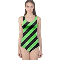 Stripes3 Black Marble & Green Watercolor One Piece Swimsuit