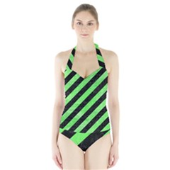 Stripes3 Black Marble & Green Watercolor Halter Swimsuit