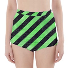 Stripes3 Black Marble & Green Watercolor High Waisted Bikini Bottoms