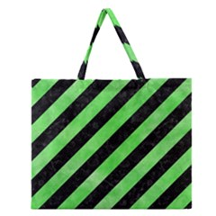 Stripes3 Black Marble & Green Watercolor Zipper Large Tote Bag