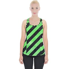 Stripes3 Black Marble & Green Watercolor Piece Up Tank Top