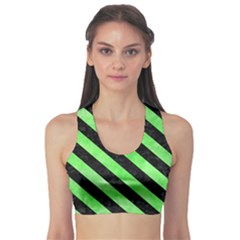Stripes3 Black Marble & Green Watercolor (r) Sports Bra