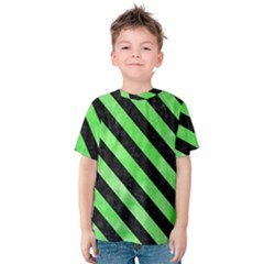 Stripes3 Black Marble & Green Watercolor (r) Kids  Cotton Tee