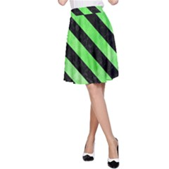 Stripes3 Black Marble & Green Watercolor (r) A Line Skirt