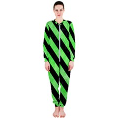 Stripes3 Black Marble & Green Watercolor (r) Onepiece Jumpsuit (ladies)