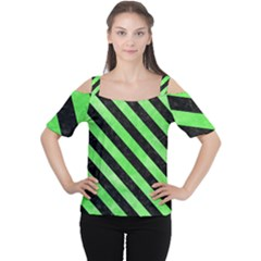 Stripes3 Black Marble & Green Watercolor (r) Cutout Shoulder Tee