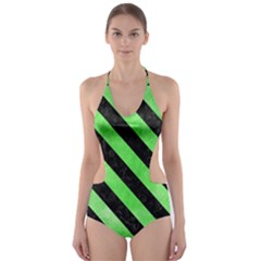 Stripes3 Black Marble & Green Watercolor (r) Cut Out One Piece Swimsuit