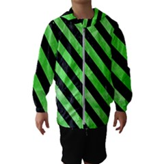 Stripes3 Black Marble & Green Watercolor (r) Hooded Wind Breaker (kids)